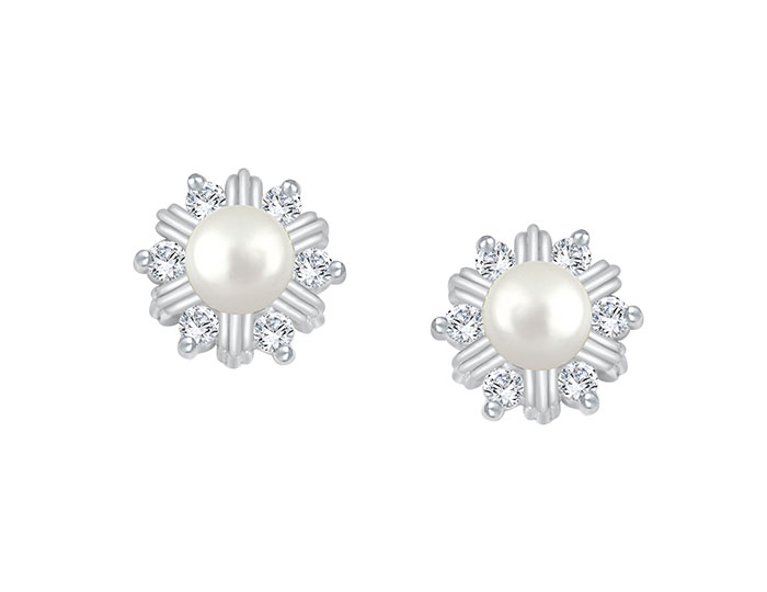 Pearl and round brilliant cut diamond earrings in 18k white gold.