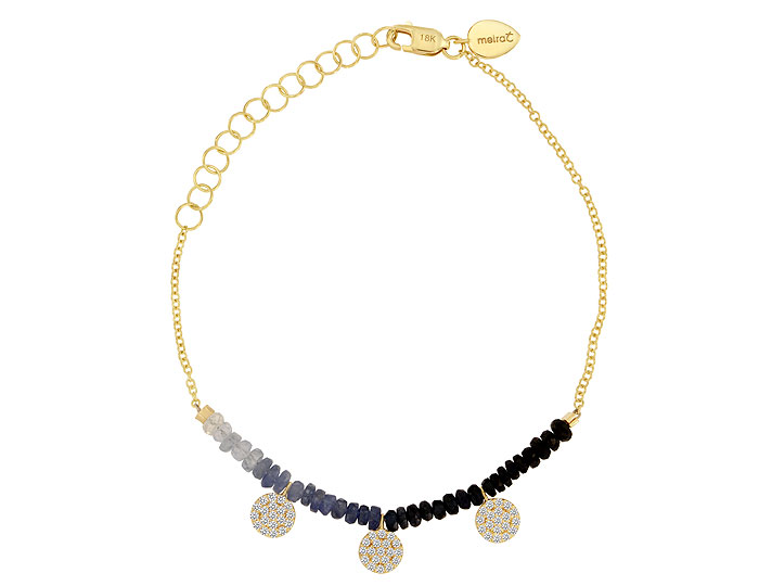 Meira T sapphire and diamond bracelet in 18k yellow gold.