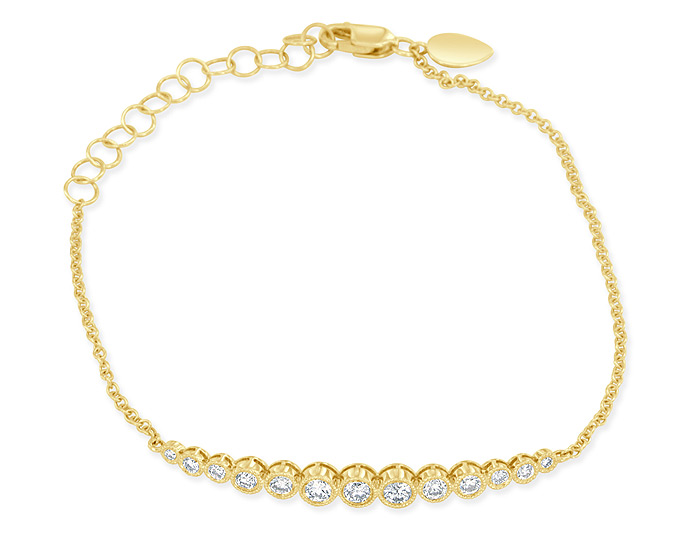 Meira T round brilliant cut diamond bracelet in 18k yellow gold.
