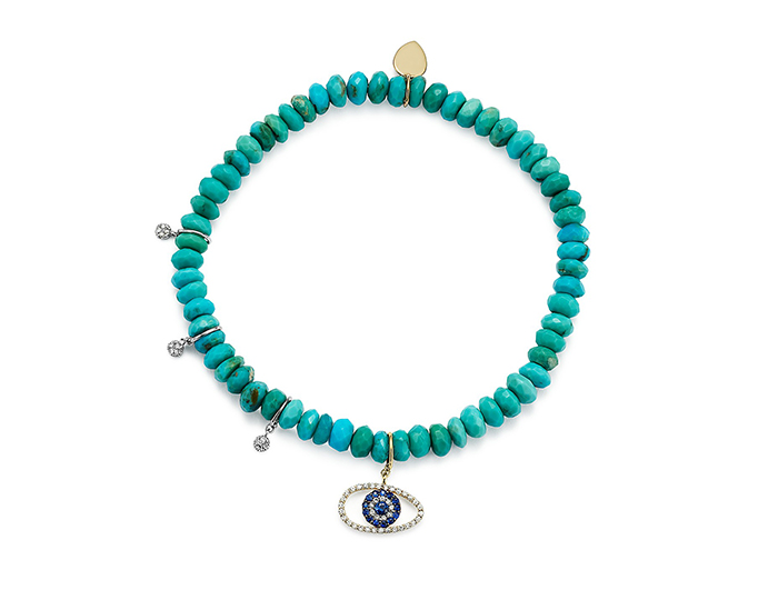 Meira T turquoise, sapphire and diamond bracelet in 18k yellow gold.