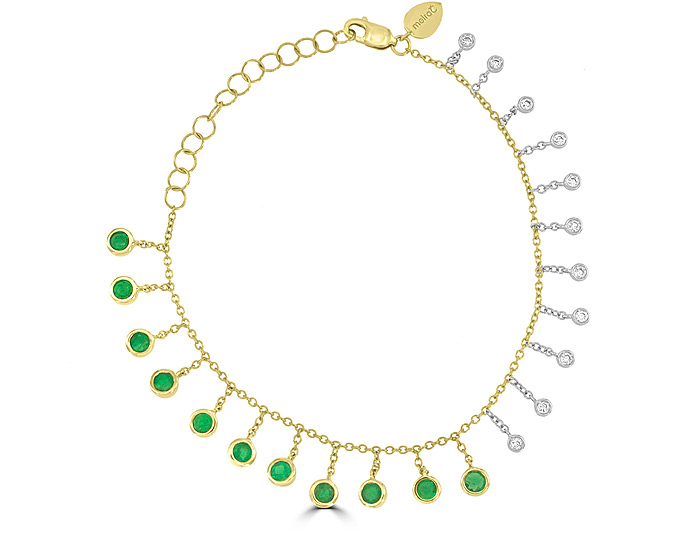Meira T emerald and round brilliant cut diamond bracelet in 18k yellow gold.