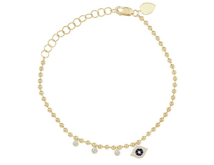 Meira T sapphire and diamond evil eye bracelet in 18k yellow gold.