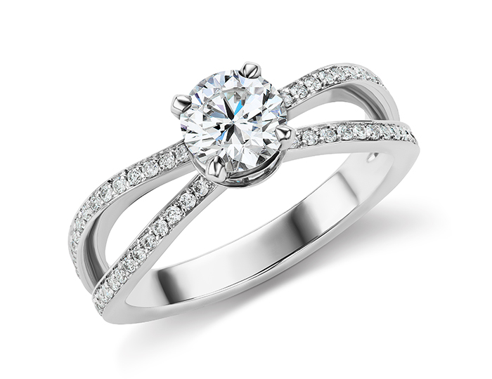 Bez Ambar round brilliant cut diamond engagement ring in 18k white gold.