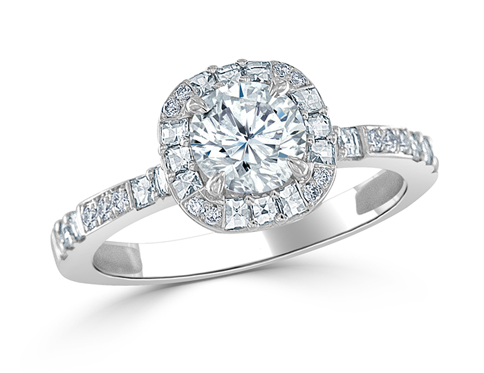 Round brilliant cut and blaze cut diamond ring in platinum.