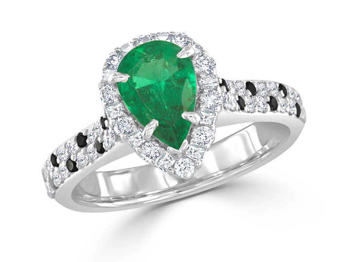 Emerald, blaze cut, round brilliant cut white and black diamonds in 18k white gold.
