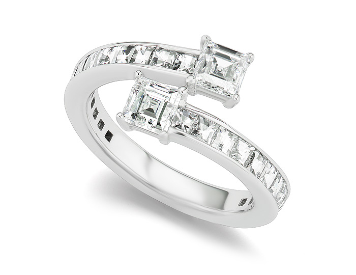 Bez Ambar carre cut and blaze cut diamond ring in 18k white gold.