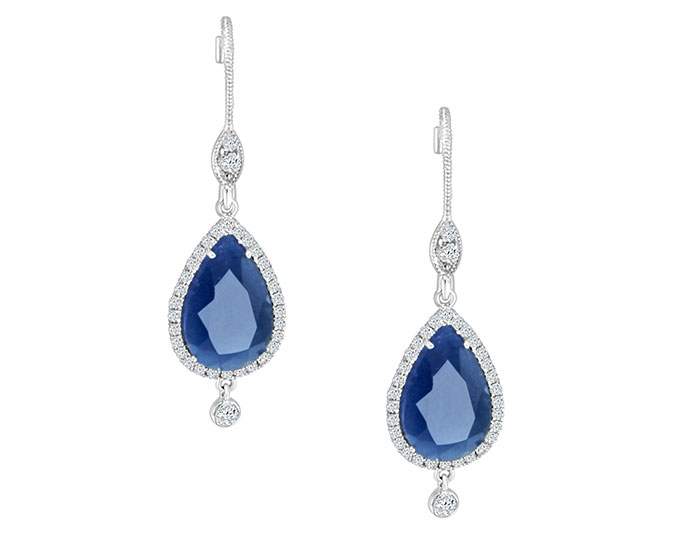 Meira T sapphire and round brilliant cut diamond earrings in 18k white gold.
