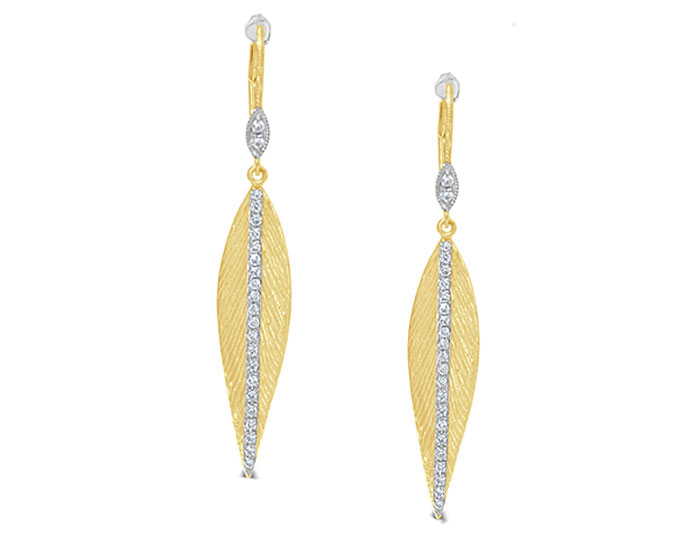 Meira T round brilliant cut diamond leaf earrings in 18k yellow gold.