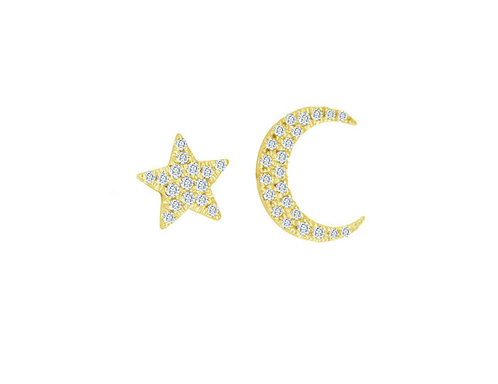 Meira T round brilliant cut diamond star and moon earrings in 18k yellow gold.