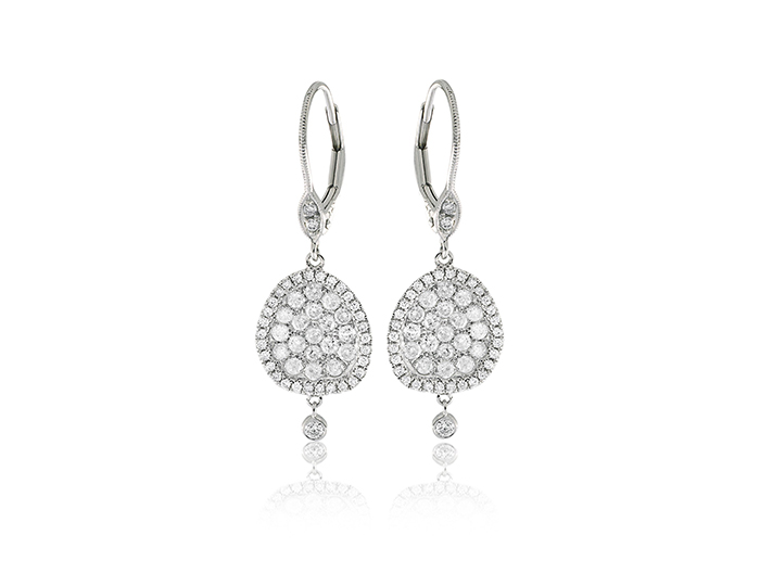 Meira T round brilliant cut diamond earrings in 18k white gold.