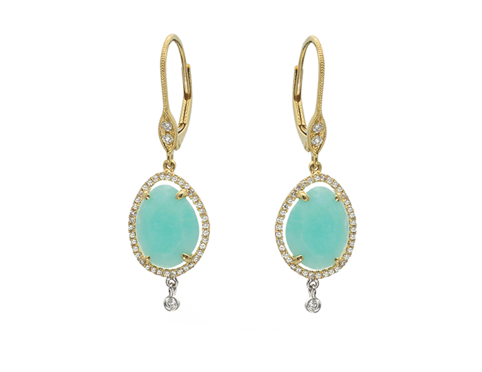 Meira T milky aquamarine and diamond earrings in 18k yellow gold.