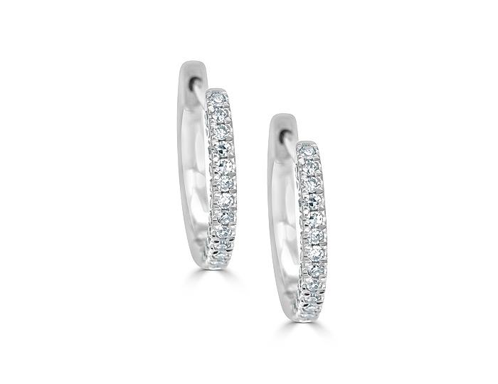 Meira T round brilliant cut diamond hoop earrings in 18k white gold.