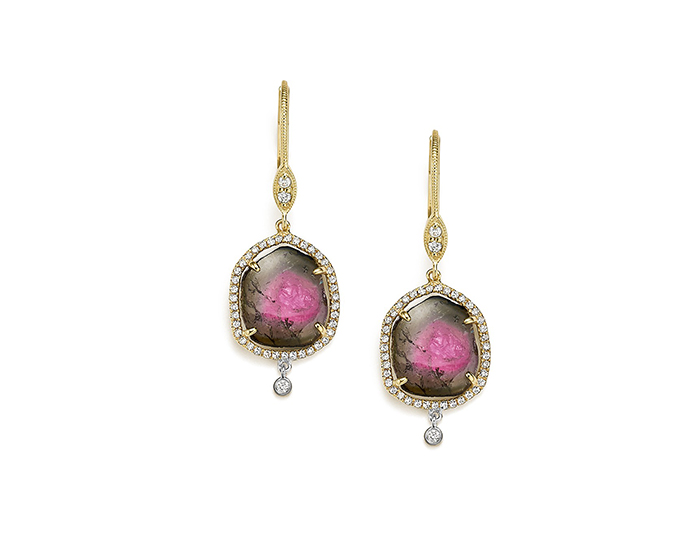 Meira T watermelon tourmaline and diamond earrings in 18k yellow gold.