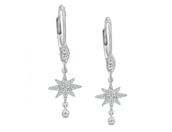Meira T diamond starburst earrings in 18k white gold.