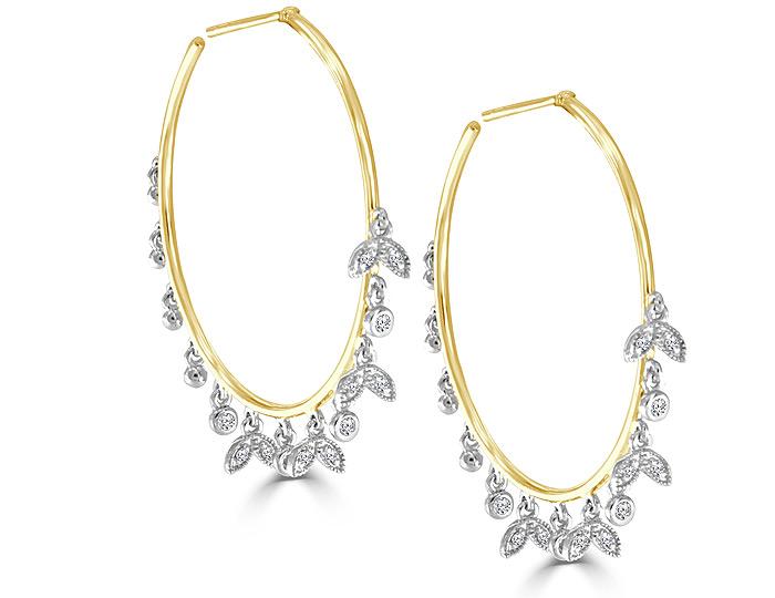 Meira T round brilliant cut diamond hoop earrings in 18k yellow gold.