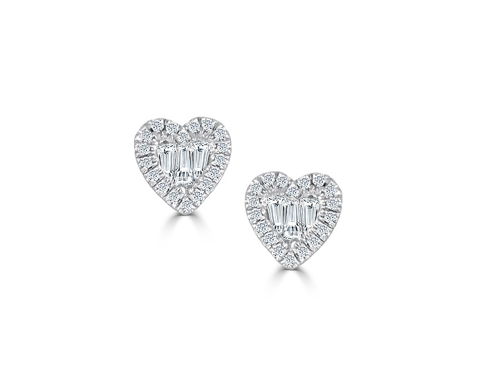 Meira T round brilliant cut and baguette cut diamond earrings in 18k white gold.