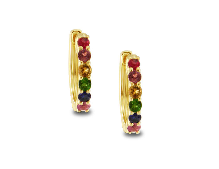 Meira T ruby, citrine, green tourmaline, sapphire, amethyst and pink topaz hoop earrings in 18k yellow gold.