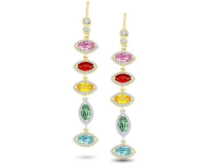 Meira T multi-colored sapphire and diamond earrings in 18k yellow gold.