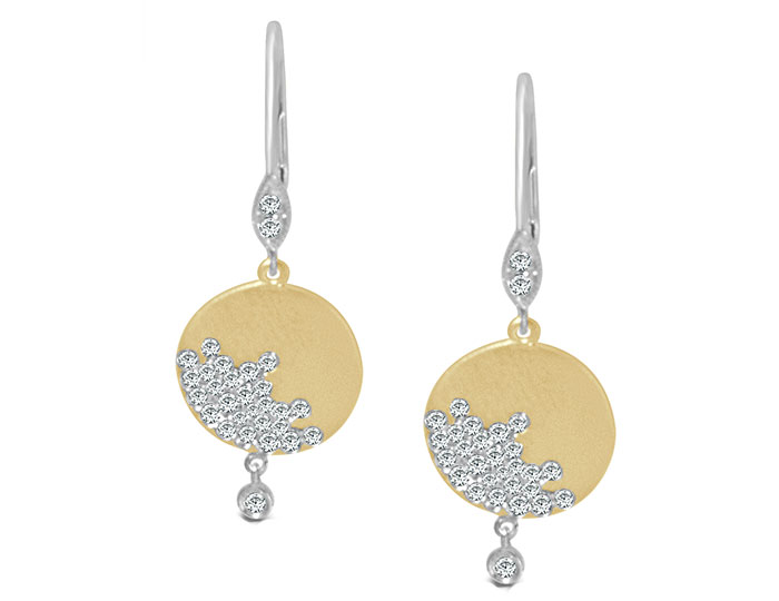 Meira T round brilliant cut diamond earrings in 18k yellow and white gold.