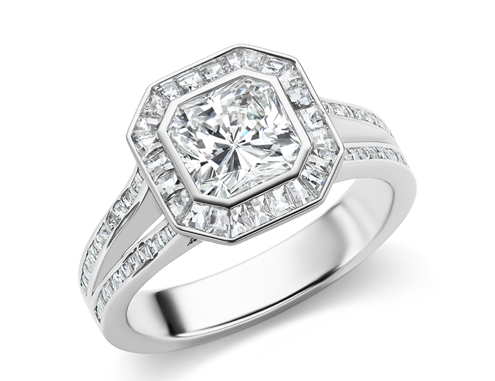 Radiant cut and blaze cut diamond engagement ring in platinum.
