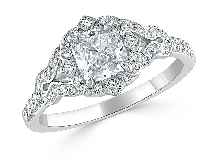 Bez Ambar cushion cut, blaze cut and round brilliant cut diamond engagement ring in platinum.
