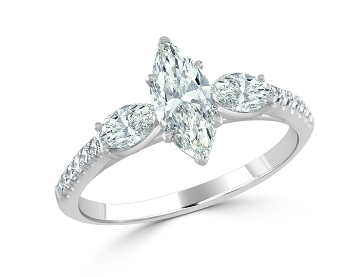 Bez Ambar marquise and round brilliant cut diamond ring in platinum.
