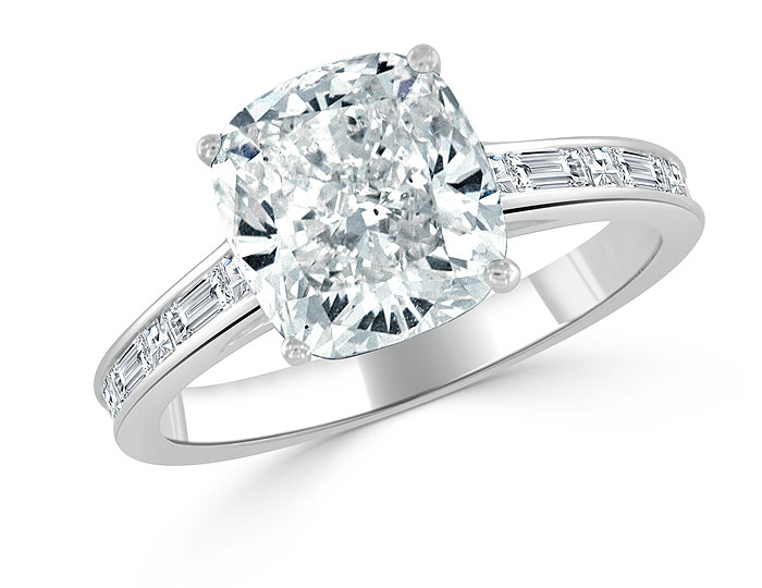 Bez Ambar cushion cut, baguette cut and blaze cut diamond engagement ring in 18k white gold.
