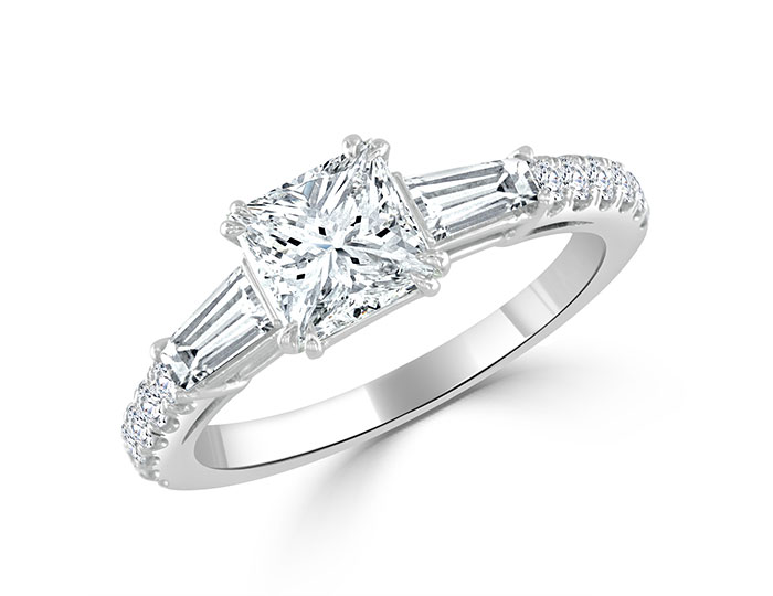 Bez Ambar princess cut, baguette, and round brilliant cut diamond engagement ring in platinum.