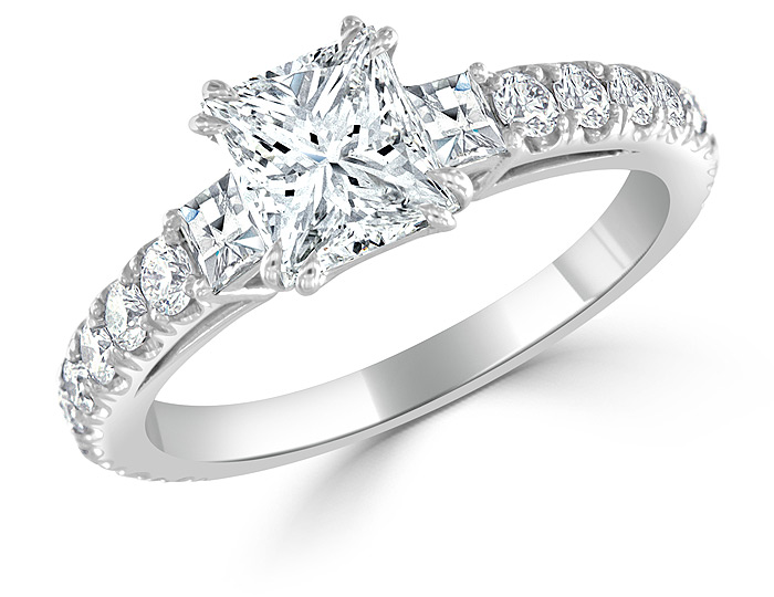 Bez Ambar princess cut, blaze cut and round brilliant cut diamond engagement ring in platinum.
