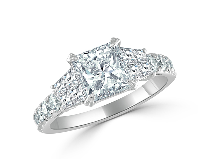 Bez Ambar radiant, blaze and round brilliant cut diamond ring in platinum.