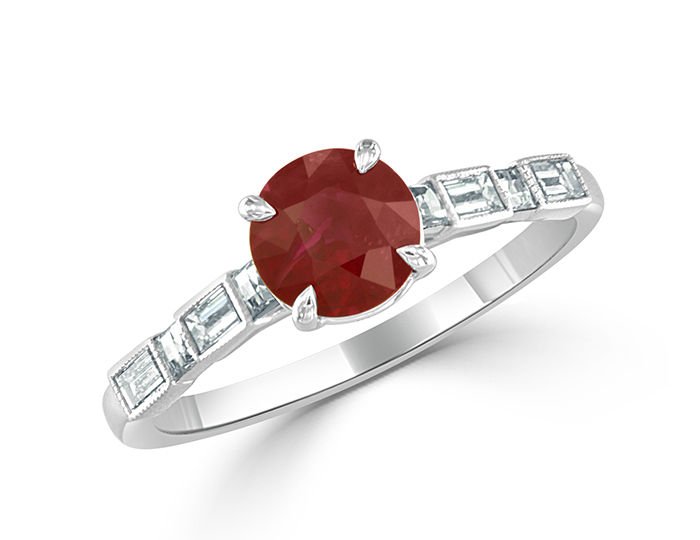 Bez Ambar ruby ring with baguette and blaze cut diamonds in 18k white gold.