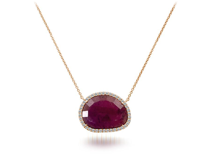 Meira T ruby and round brilliant cut diamond necklace in 18k rose gold.
