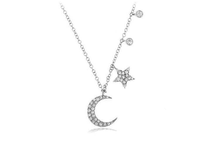 Meira T round brilliant cut diamond necklace in 18k white gold.
