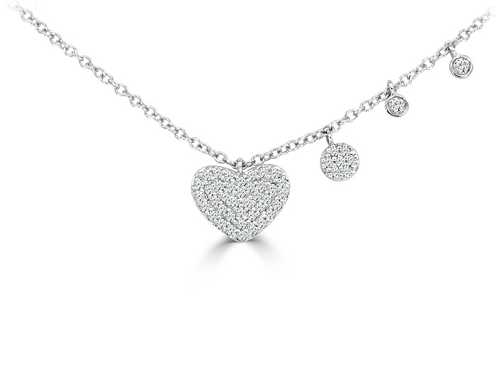 Meira T round brilliant cut diamond heart necklace in 18k white gold.