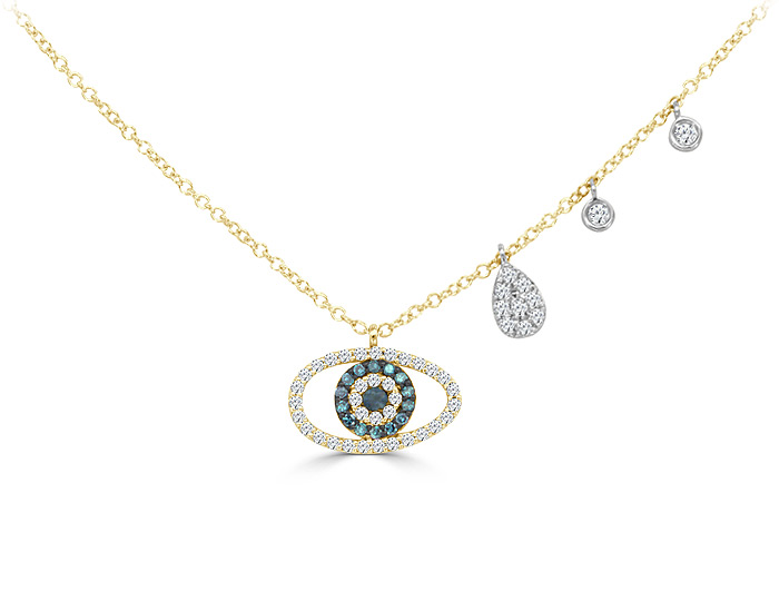 Meira T sapphire and round brilliant cut diamond necklace in 18k yellow gold.