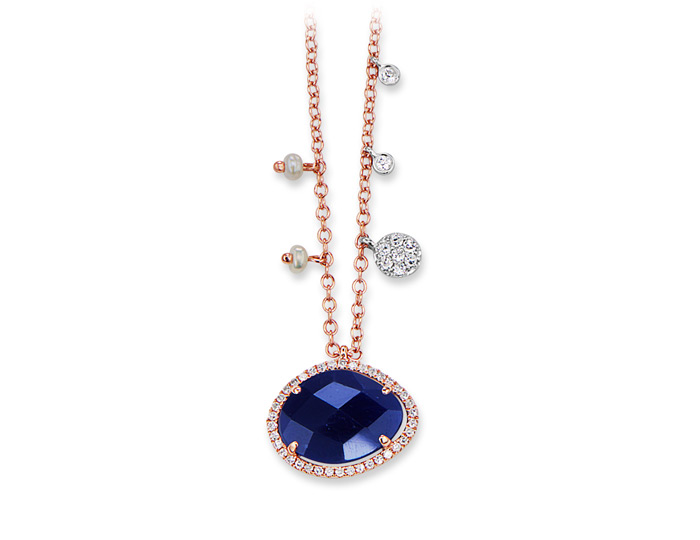 Meira T sapphire, diamond and pearl necklace in 18k rose gold.