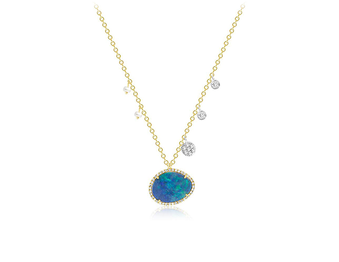 Meira T opal, diamond and pearl necklace in 18k yellow gold.