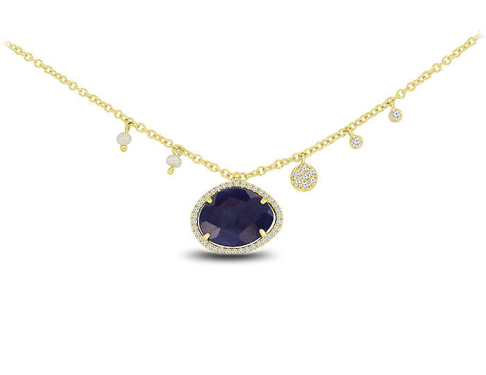 Meira T sapphire, diamond and pearl necklace in 18k yellow gold.