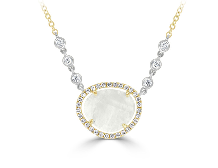 Meira T moonstone and round brilliant cut diamond necklace in 18k yellow gold.