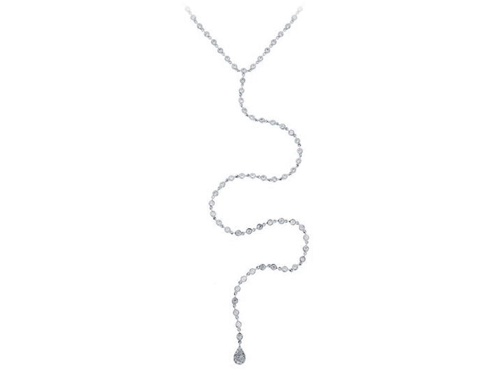 Meria T round brilliant cut diamond necklace in 18k white gold.