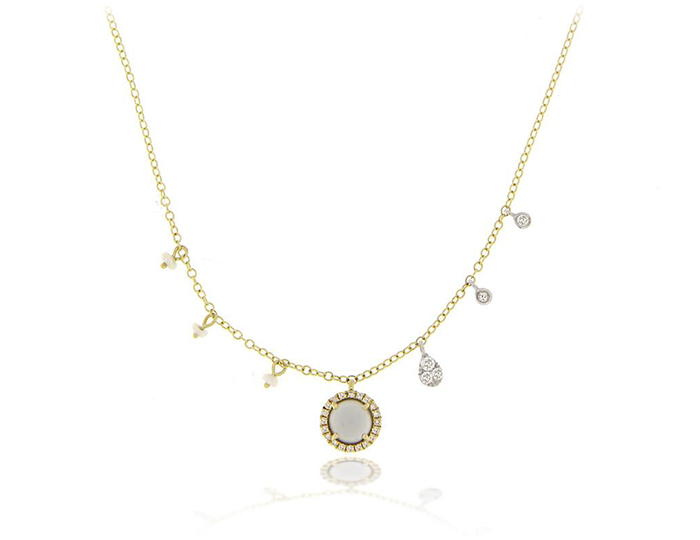 Meira T moonstone, pearl and round brilliant cut diamond necklace in 18k yellow gold.