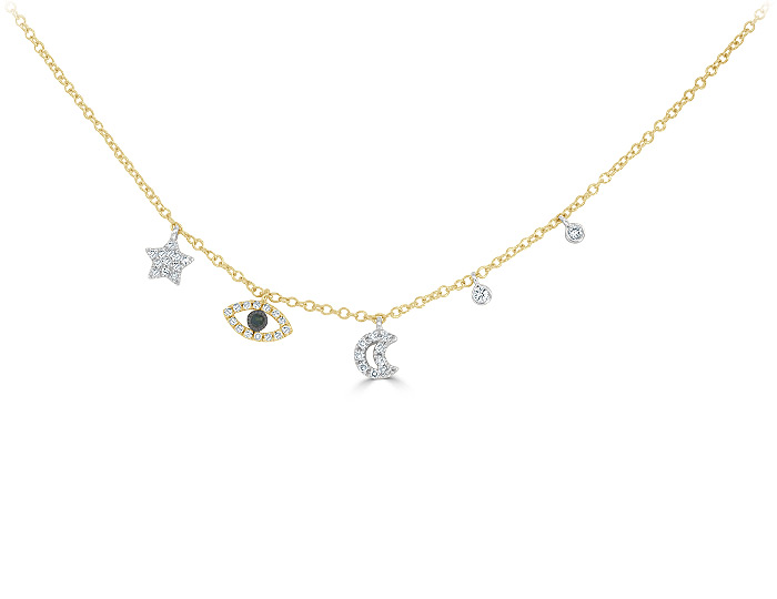 Meira T black diamond and round brilliant cut diamond necklace in 18k yellow gold.