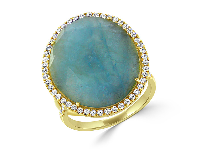 Meira T aquamarine and round brilliant cut diamond ring in 18k yellow gold.