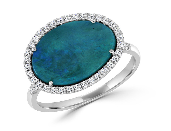 Meira T opal and round brilliant cut diamond ring in 18k white gold.