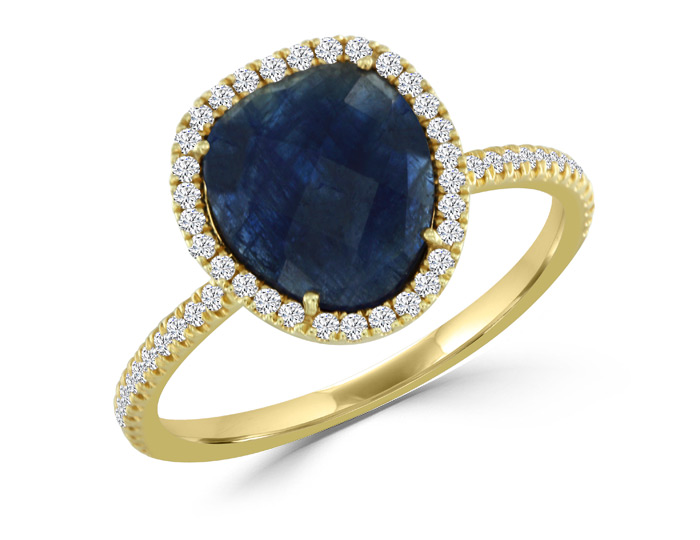 Meira T sapphire and round brilliant cut diamond ring in 18k yellow gold.