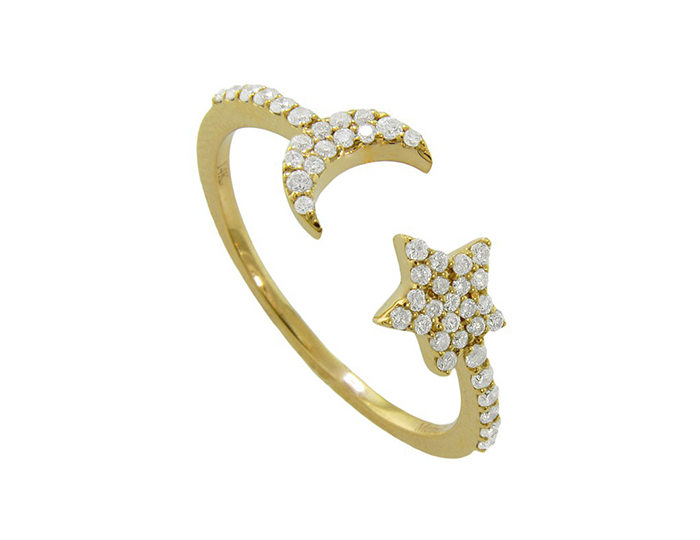 Meira T round brilliant cut diamond ring in 18k yellow gold.