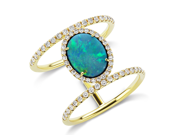 Meira T opal and round brilliant cut diamond ring in 18k yellow gold.