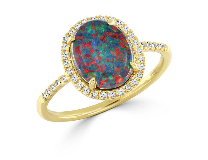 Meira T opal and single cut diamond ring in 18k yellow gold.