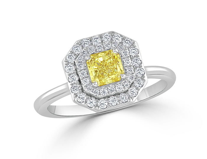 Bez Ambar natural fancy yellow radiant cut and round brilliant cut diamond engagement ring in 18k white gold.