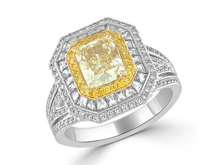 Radiant cut and round brilliant cut fancy yellow and blaze cut and round brilliant cut diamond engagement ring in 18k white and yellow gold.